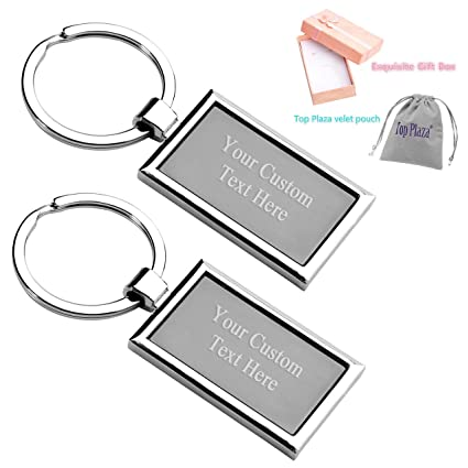 Top Plaza 2 Pcs Customize Your Keychain - Simple Silver Rectangle Key Chain  Fashion Personalized Name a894c6862