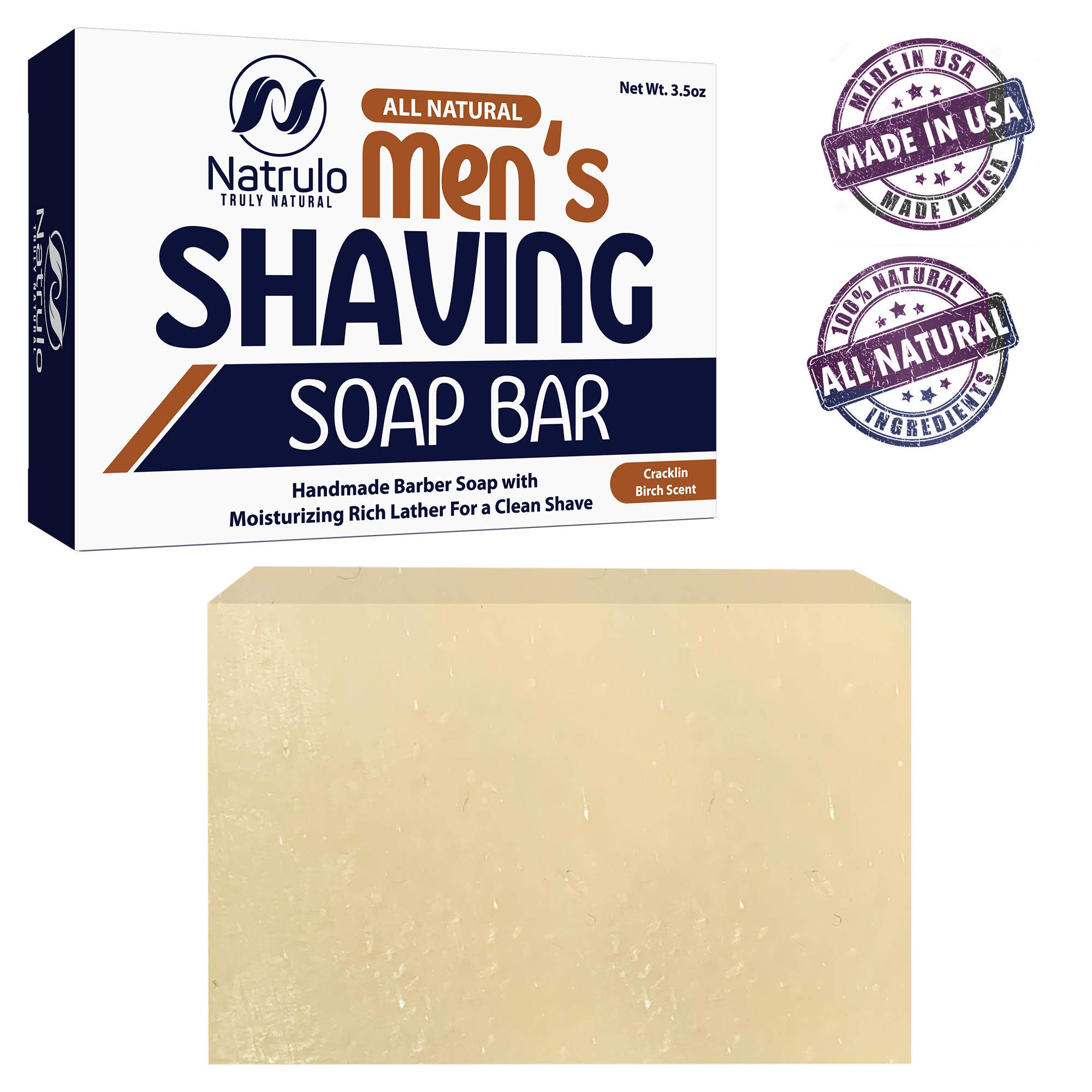 Men's All Natural Shaving Soap Bar - Moisturizing Rich Lather Handmade Barber Soap with Detoxifying Bentonite Clay, Soothing Shea Butter, Exfoliating Colloidal Oats - For Clean Shave, Reduces Redness