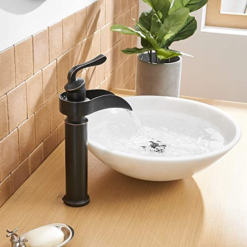 BWE Vessel Sink Faucet with Drain Assembly and Supply Line Commercial Bathroom Waterfall Faucet Single Handle One Hole Lavatory Basin Mixer Tap Tall Body Oil Rubbed Bronze