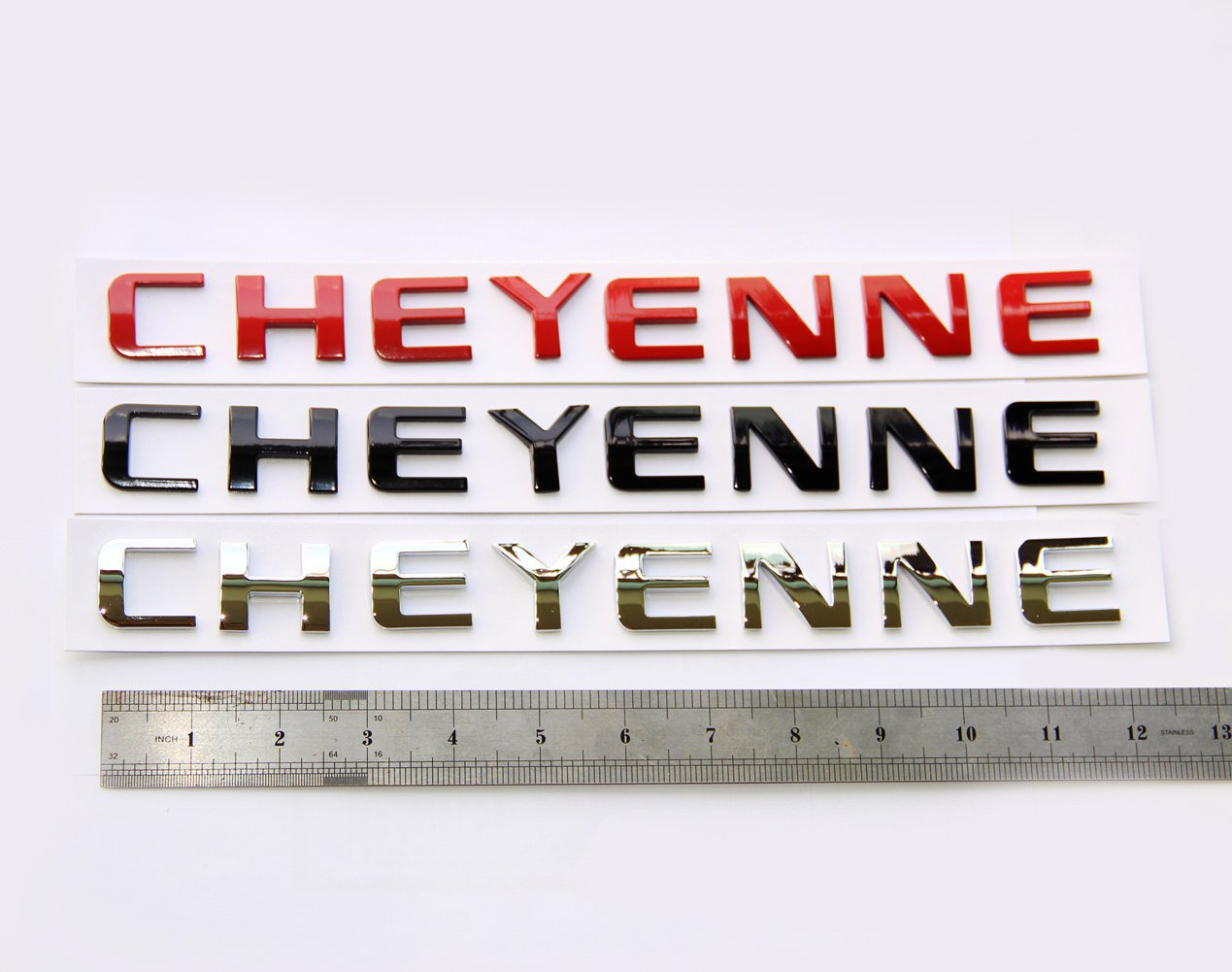 Yoaoo 2x OEM Black CHEYENNE Nameplate Emblems Badge 3D for GM Chevrolet Silverado Shiny Glossy New