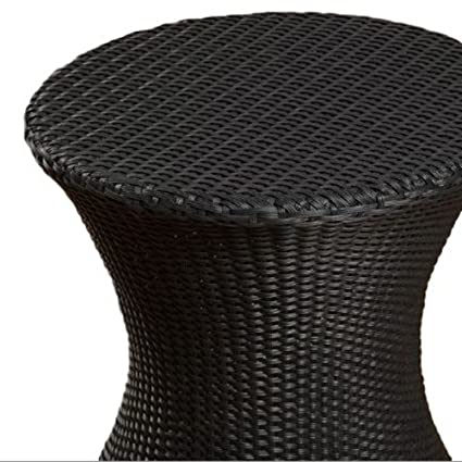 Amazon Com Ats Round Wicker Side Table Patio Table Outdoor Small