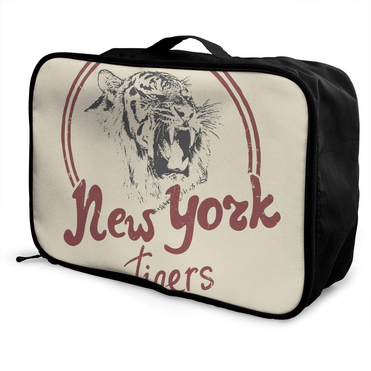 ADGAI New York Tiger Retro Label Canvas Travel Weekender Bag,Fashion Custom Lightweight Large Capacity Portable Luggage Bag,Suitcase Trolley Bag