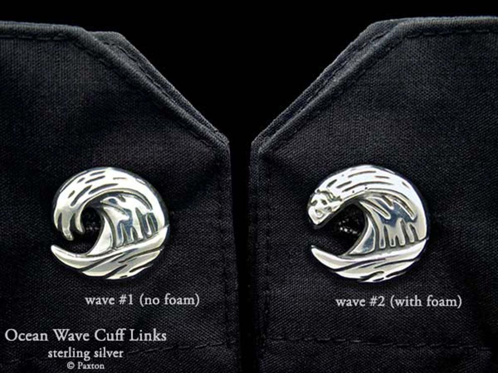 Ocean Wave Cuff Links in Solid Sterling Silver Hand Carved & Cast by Paxton