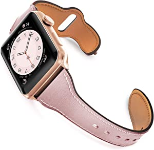 GZ GZHISY Leather Band Compatible for Apple Watch 38mm 40mm, Slim Thin Genuine Leather Narrow Watch Strap Replacement for Women Compatible for iWatch Series 6/SE/5/4/3/2/1, S/M Pink Sand