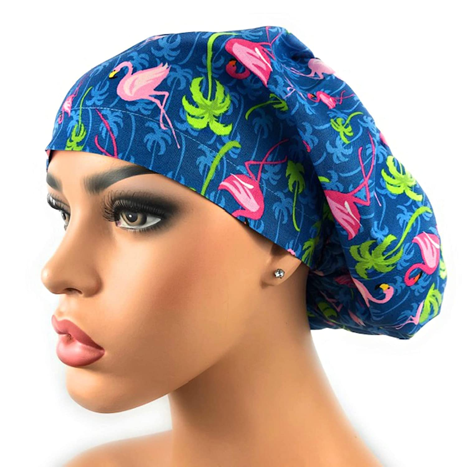 FENICAL Adjustable Surgical Cap Cotton Flamingo Pattern Scrub Hat Medical Doctor Nurse Sweat Absorption Beanie for Woman Man