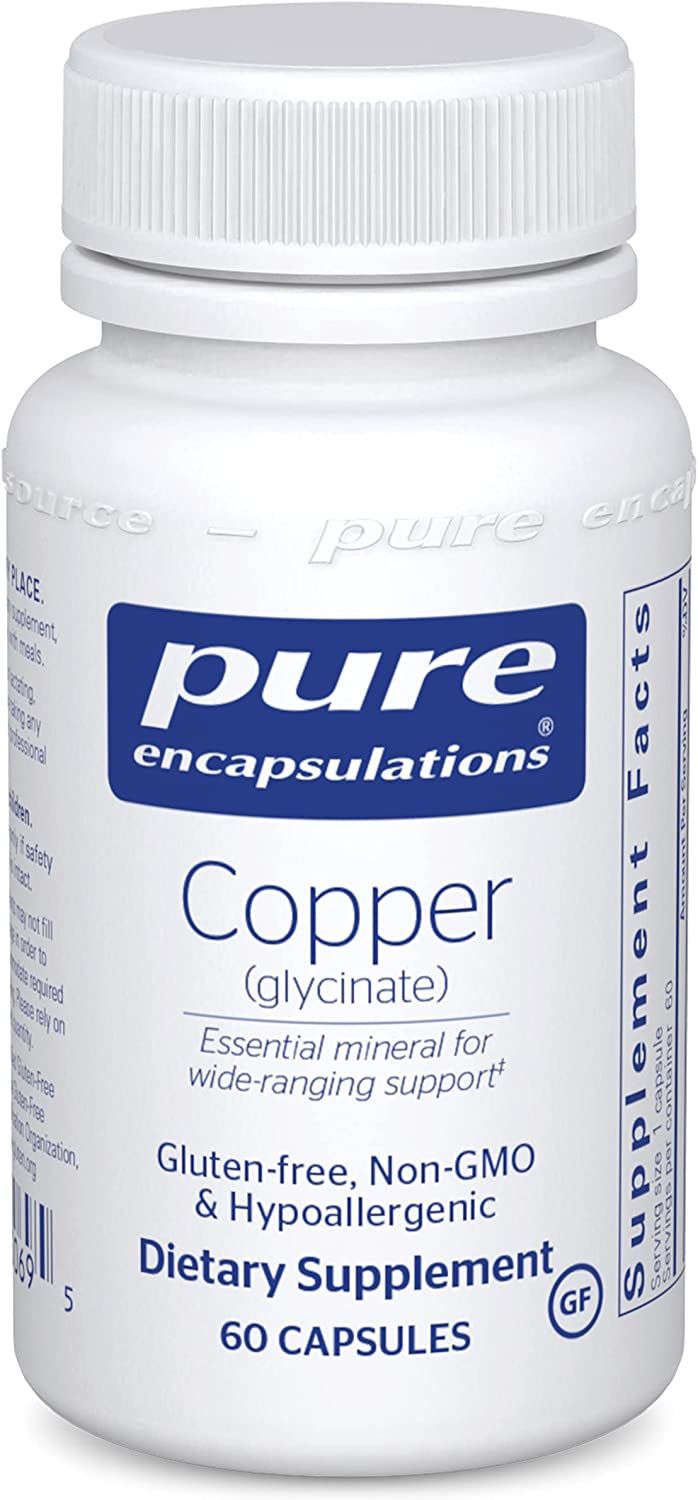 Pure Encapsulations Copper (Glycinate)   Iron Absorption Supplement for Red Blood Cell Formation*   60 Capsules