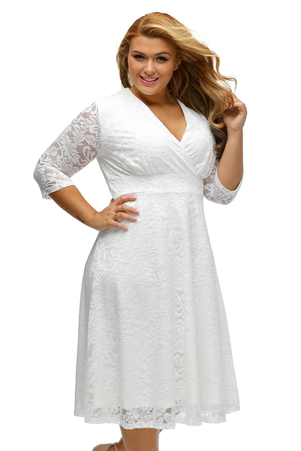 3e4aacb114 Fashion Women s Elegant Lace Plus Size Formal Bridal Wedding Party Skater  Dress at Amazon Women s Clothing store