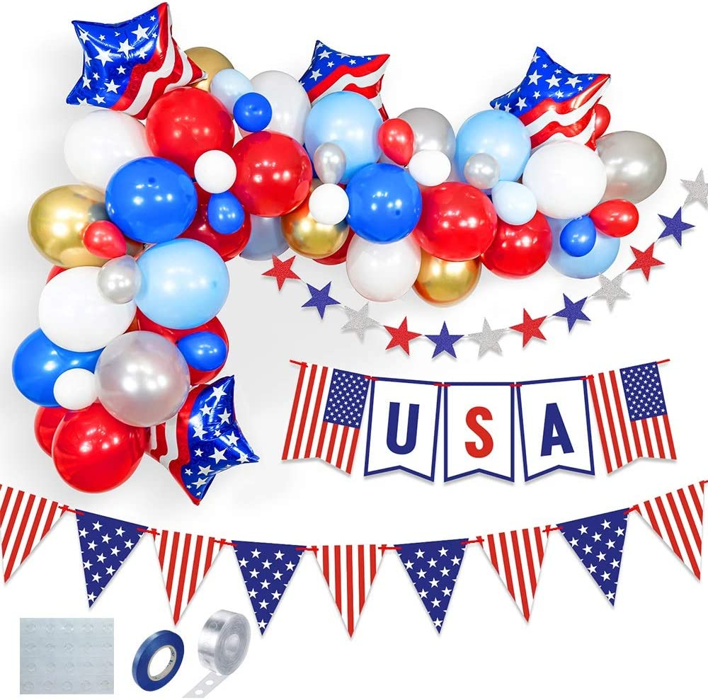 Patriotic Day Decorations Supplies set, Latex Party Balloons for 4th of July, decor American Independence Day Balloons Decorations