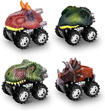 Pull Back Vehicles Go Car Toy Play Set Dinosaur Toys for 3-6 Year Olds Boys Girls Boys Toys for 3-4 Year Olds 4 Pack dmazing Gifts for 3-6 Year Olds Kids