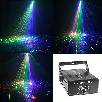 Luces del disco de DJ de sonido activado las luces del proyector ...