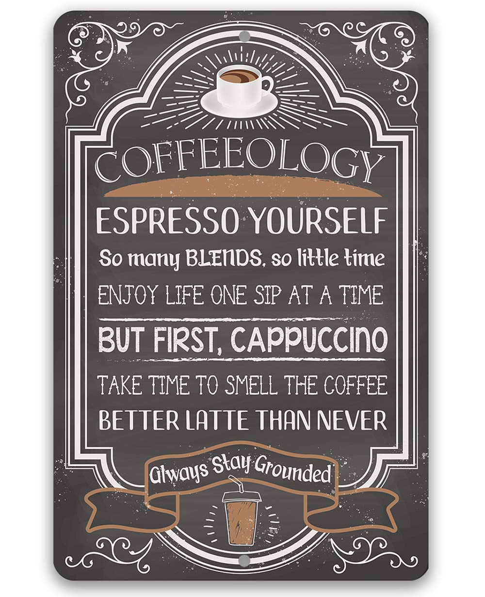 """Metal Sign - Coffeeology Coffee Quotes - Durable Metal Sign - Use Indoor/Outdoor - Great Gift and Decor for Restaurant, Cafe, Coffee Shop, Kitchen and Dining Room Under $20 (8"""" x 12"""")"""