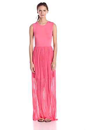 French Connection Women's Carnival Ruffle Sleeveless Maxi Dress, Coral Beach, 2