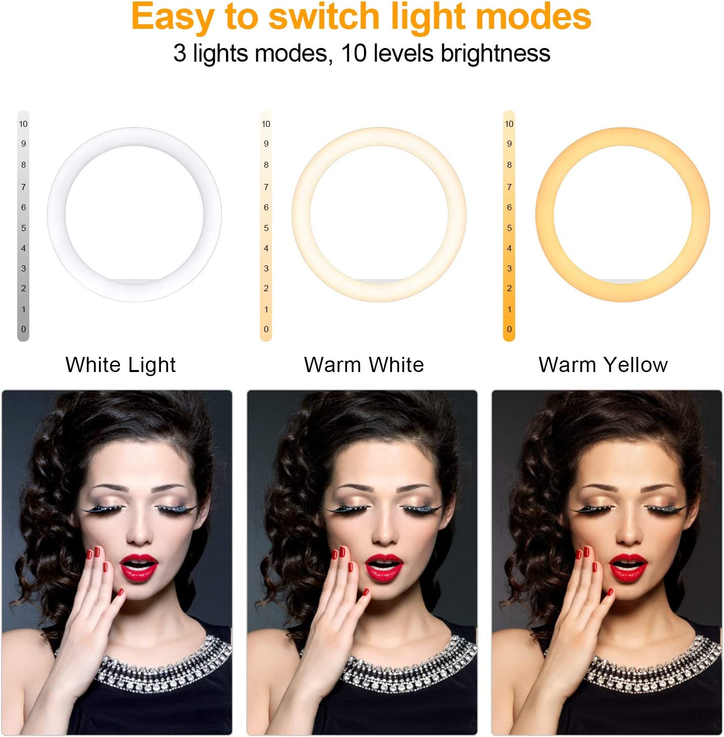 OldShark 10 Ring Light Makeup Video LED Selfie Ringlight with Tripod Stand Phone Holder Dimmable Circle Lights for Fashion Photography YouTube Live Stream