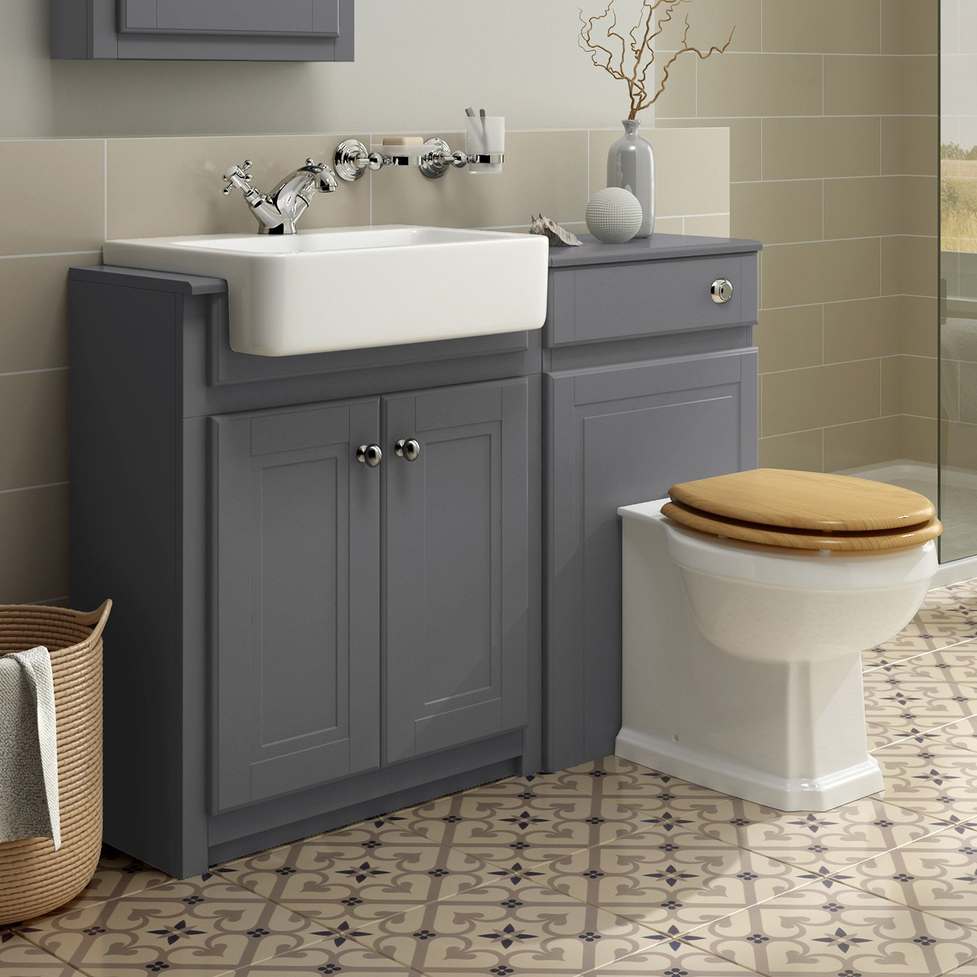 1100mm Combined Vanity Unit Toilet Basin Grey Bathroom Furniture Storage Sink Buy Online In French Guiana At Frenchguiana Desertcart Com Productid 54509350