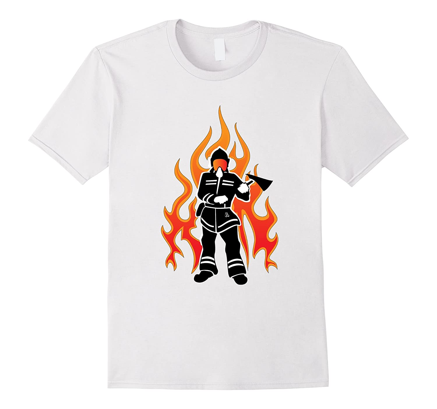 f69f92a8 Firefighter Flames T-Shirt for Firemen and First Responders-PL ...