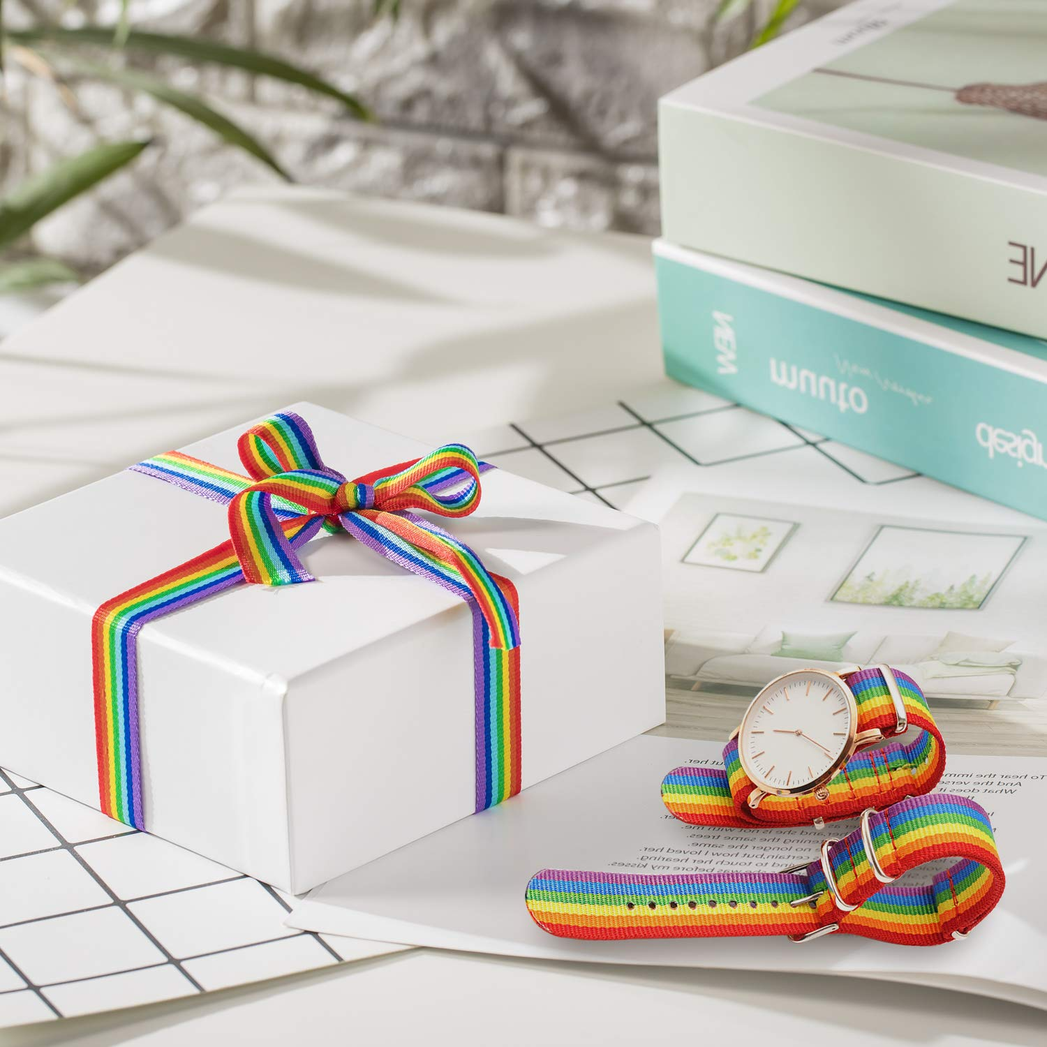 Whaline 60 Yards 55 Meters Rainbow Grosgrain Ribbons Double Sided Rainbow Stripes Ribbons for Wrapping Gift Party Decoration DIY Handmade Crafts 1cm, 1.5cm, 2.5cm in Width