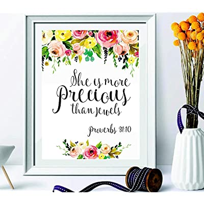 signatives She is More Precious Than Jewels - Baby Girl Nursery Wall Art - Girl Nursery Wall décor - Floral Housewarming Gift - Nursery Wall Art - Kids Wall décor - Nursery Decor: Home & Kitchen