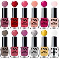 NOY® One Stroke Color Quick Dry Nail Polishes Set of 12 in Wholesale Rate 6 ml each(Mauve, Red, Peach, Nude, Magenta, Nude, Nude Grey, Peach, Purple, Silver, Golden, Top Coat)