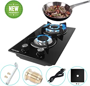12 Inches Gas Stove High Gas Cooktop Gas Hob Stove Top 2 Burners Gas Range Double Burner Gas Stoves Kitchen Slope Edge Tempered Glass LPG/NG Dual Fuel Electric Stove Top Thermocouple Protection