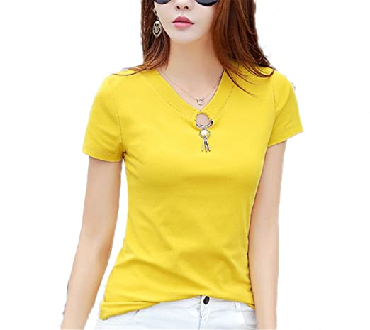 Amazon.com: OUXIANGJU Women New Summer Cotton T-Shirt Ladies Casual Short Sleeve V-Neck Solid Tops Tees: Clothing