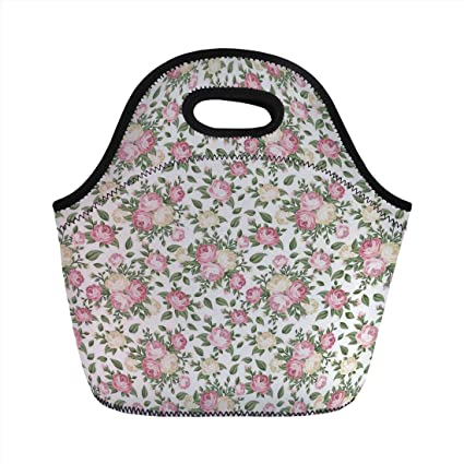 30b09bff5012 Amazon.com: Portable Lunch Bag, House Decor, Roses Rosebuds Leaves ...