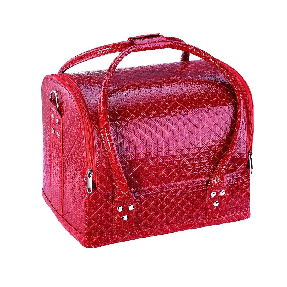 CAFUTY プロフェッショナルビューティーメイクアップケースネイル化粧箱ビニールケースオーガナイザークロコダイルパターン (色 : Red2) B07R2JKWH8 Red2