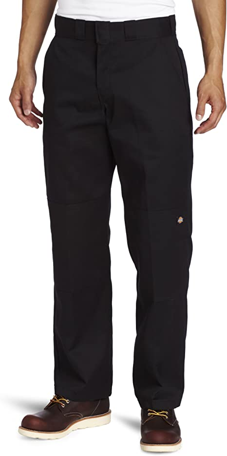 Dickies Mens Black Relaxed Fit Straight Leg Double Knee Pants WP852BK