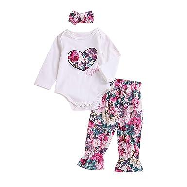 d3dcfc0c5 Amazon.com  Cute Newborn Baby Girls Romper Jumpsuit Long Sleeve ...
