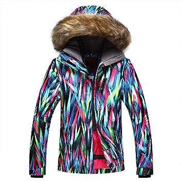 Zjsjacket Traje de Esqui Sombrero del Pelo Mujeres Invierno Abrigo de Nieve Deportes al Aire Libre