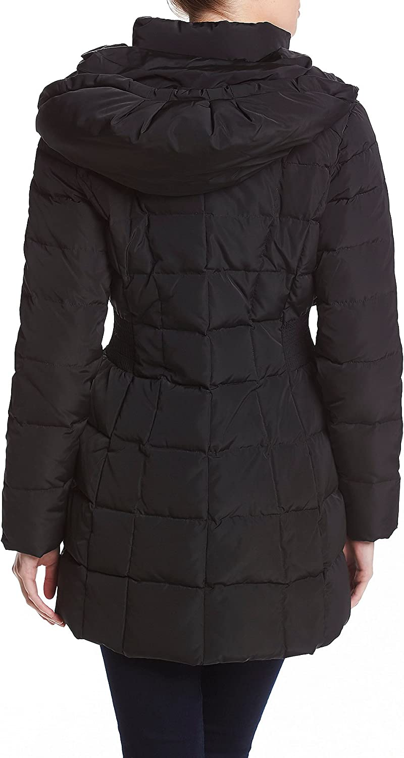 Cole Haan Womens Taffeta Down Coat with Bib Front and Dramatic Hood