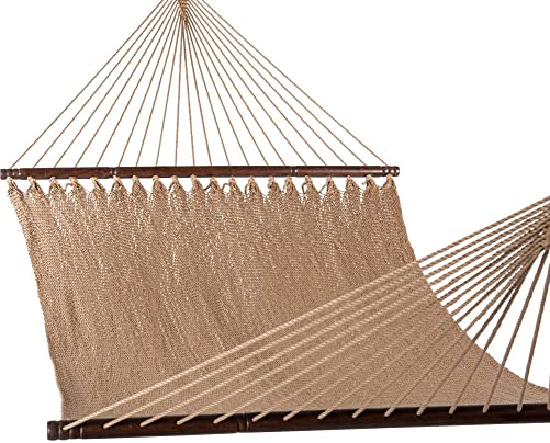 Lazy Daze Hammocks 51inch Double Caribbean Hammock Hand Woven Polyester Rope Outdoor Patio Swing Bed Tan