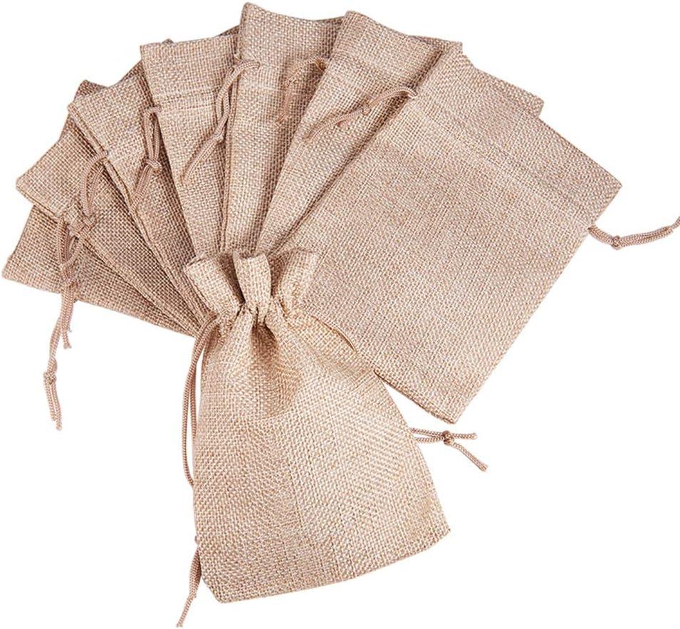 Circa 9.5cm di Larghezza PandaHall Elite 20 Pezzi Sacchetti Regalo Sacchetti di Lino con Coulisse per Gioielli Matrimonio CoconutBrown 13.5cm di Lungo