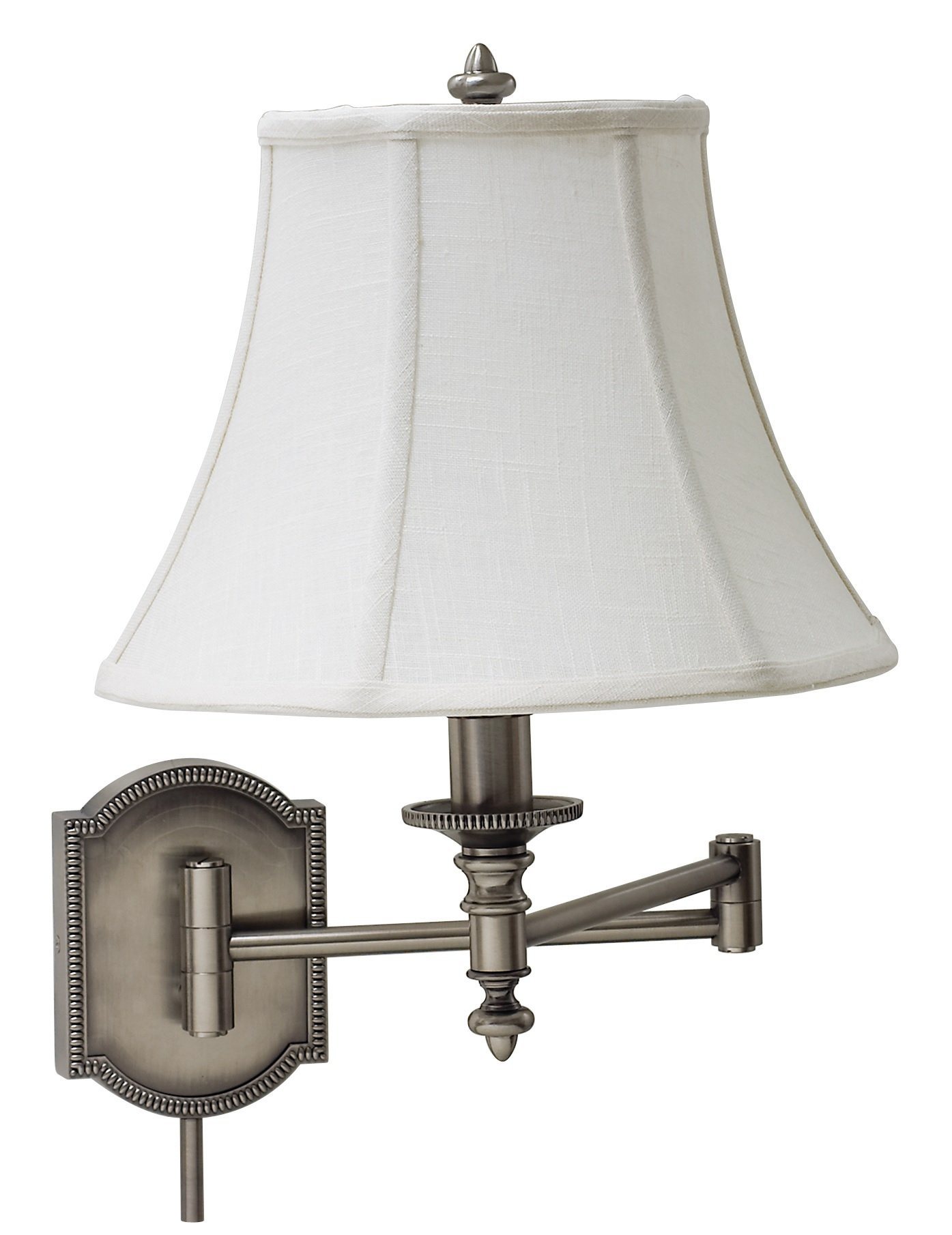 House of Troy WS761-AS Decorative 1LT Swing-Arm Wall Lamp, Antique Silver Finish with Beige Fabric Shade