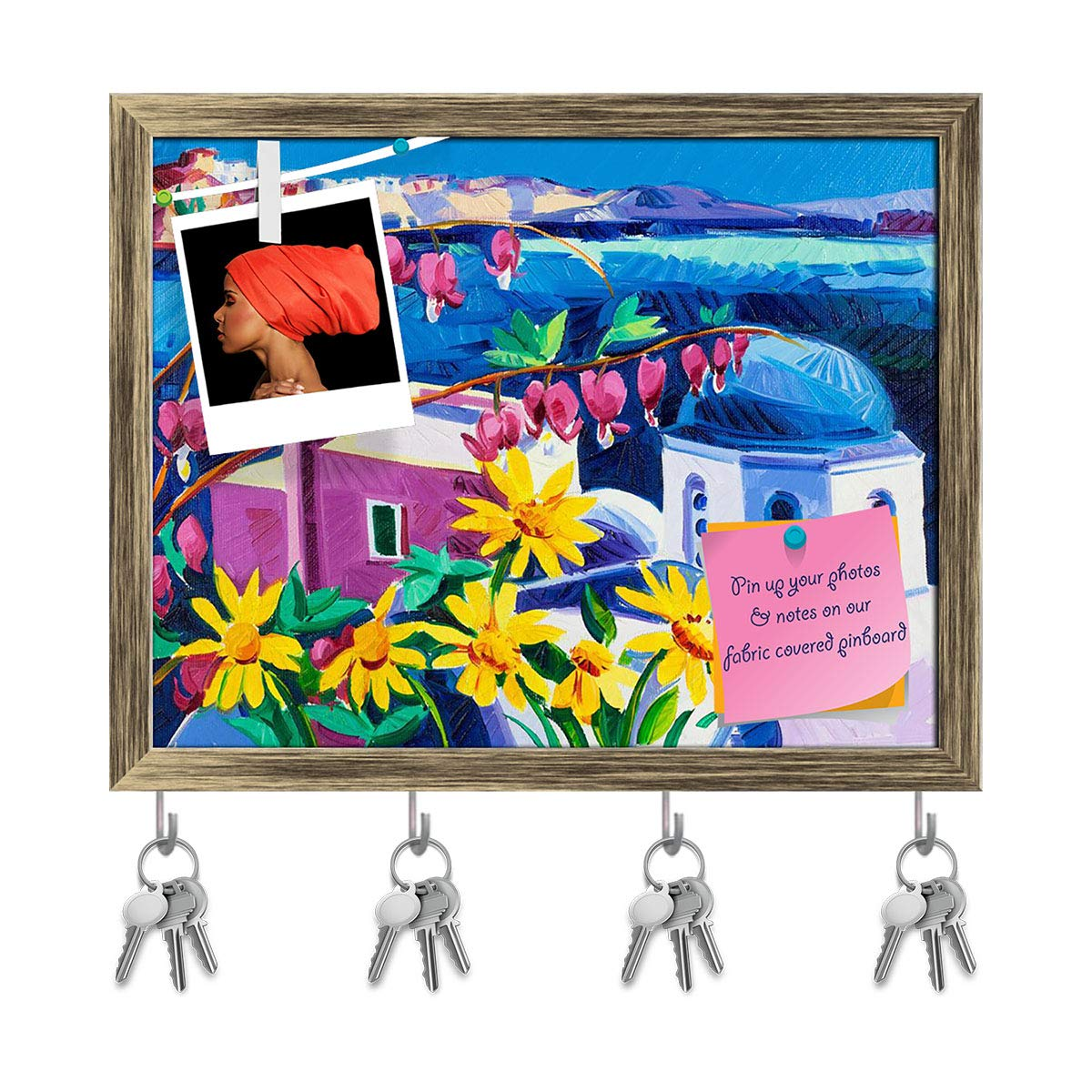 ArtzFolio Blue Churches & White Houses at Santorini Island D2 Key Holder Hooks | Notice Pin Board | Dark Brown Frame 12.6 X 10Inch