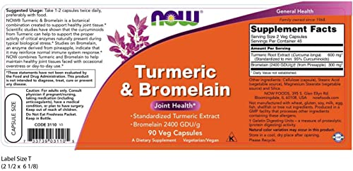 NOW Supplements, Turmeric Bromelain Standardized Turmeric Extract with Bromelain 2400 GDU g, 90 Veg Capsules