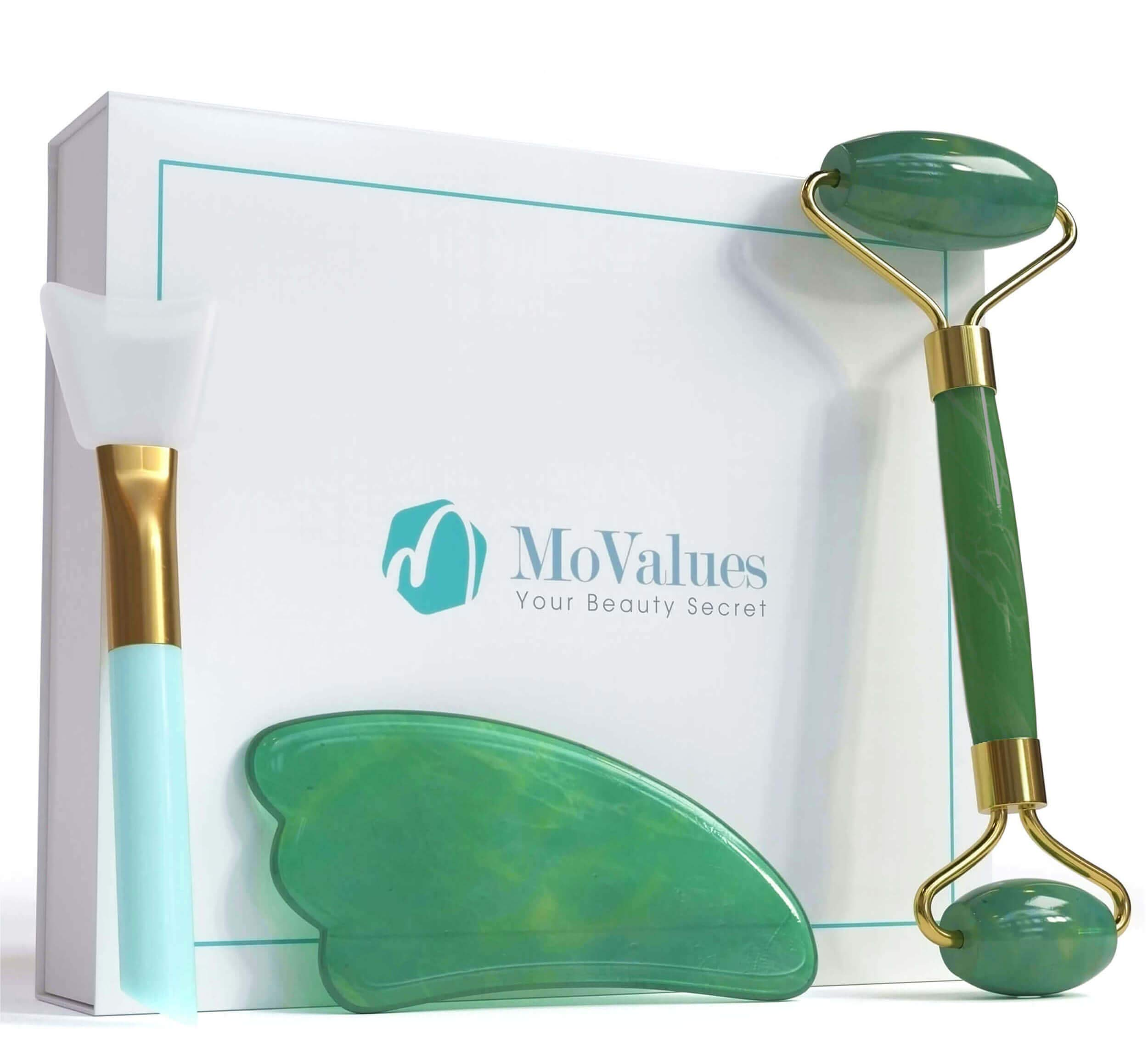 Authentic Jade Roller and Gua Sha Set - Jade Roller for Face - Face Roller, Real 100% Jade - Face Massager for Wrinkles, Anti Aging Facial Massager - Authentic, Natural, Durable, Noiseless by MoValues
