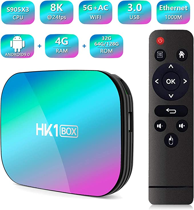 HK1 Box Android 9.0 Smart TV Box Amlogic S905X3 CPU 4GB RAM 32GB 2.4G+5G WiFi 1000M BT4.0 8K Smart Media Player for Netflix Youtube: Amazon.es: Electrónica