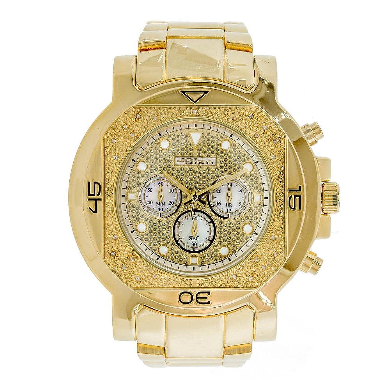 Jojino Monaco mj-1223. 59 -10 mm rund. Herren Diamant Uhr. (gelb)