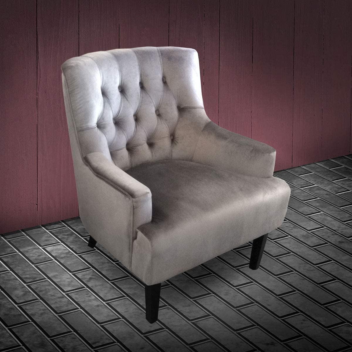 Lifestyle For Home Loungesessel Velvet Samt grau Sessel Relaxsessel Komfortsessel Lounge Chesterfield-Style