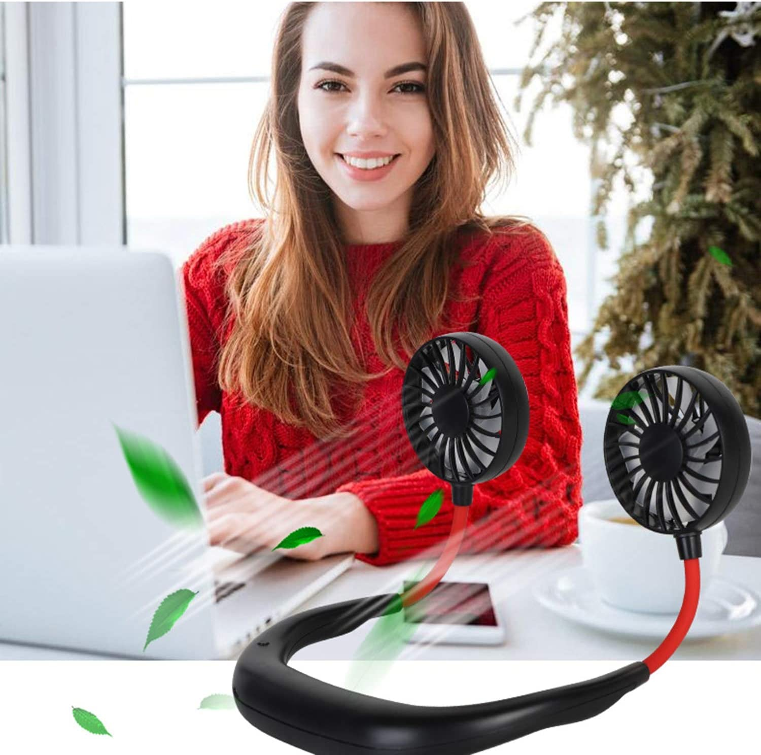 Xch USB Charged Mini Fan Built-in Rechargeable Battery Portable USB Personal Fan with USB Cable 3 Speeds and 360 Degree Rotation for