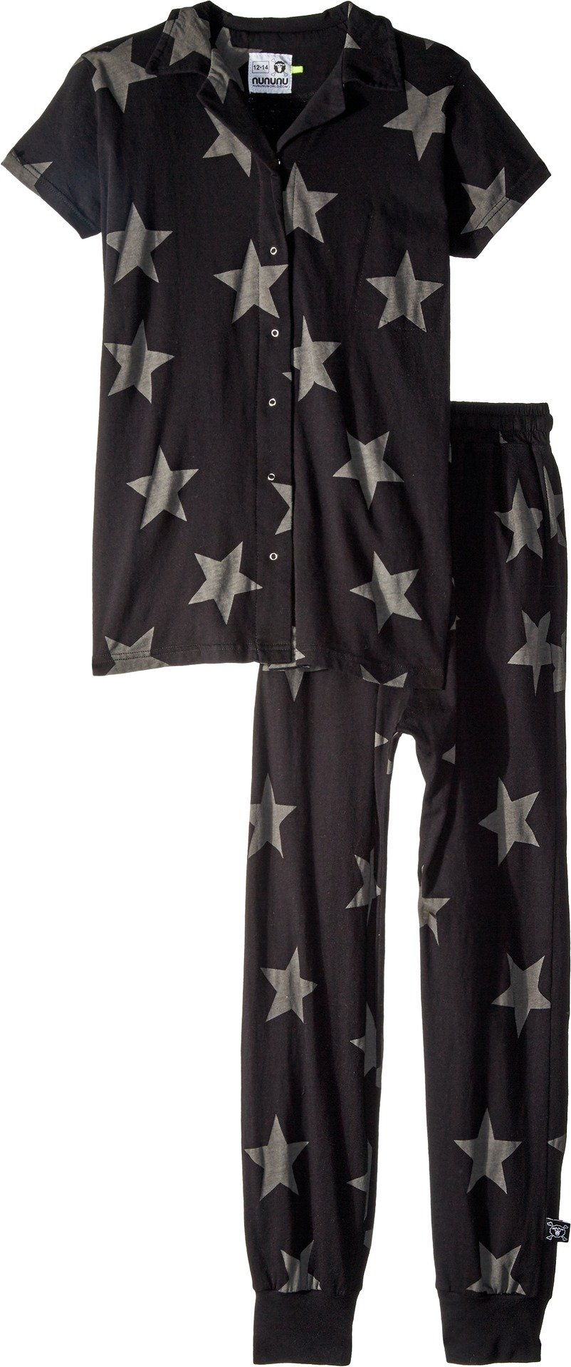 NUNUNU Boy's Buttoned Loungewear (Little Kids/Big Kids) Black 12/14 Years