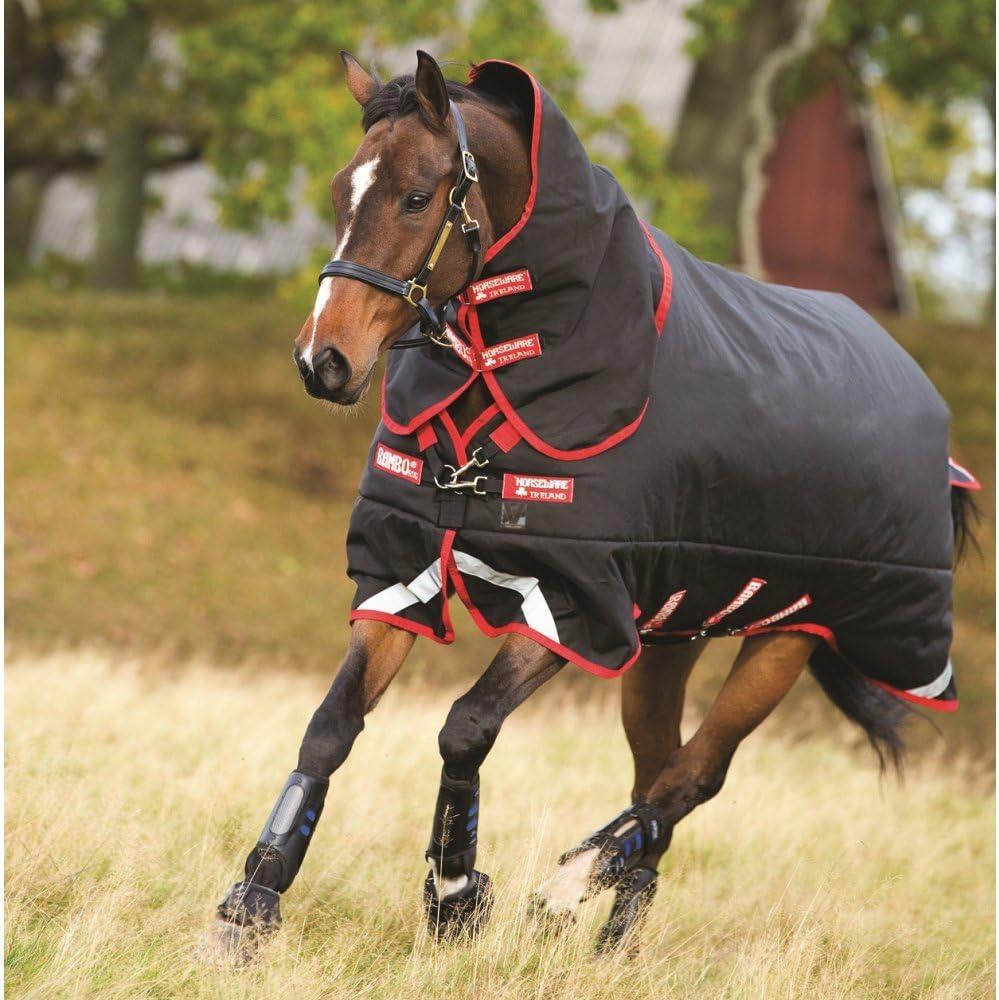 Horseware Rambo Supreme Couverture pour cheval /à couches superpos/ées et couvre-cou amovible Noir//rouge 450 g 140 cm
