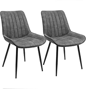"SONGMICS Dining, Set of 2 Mid-Century Modern Kitchen Chairs with Backrest, Metal Legs, 20.3""L x 24.2""W x 31.7""H, Gray"