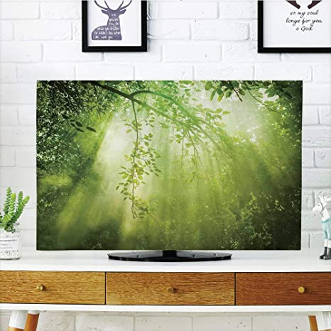 VANKINE - Funda para televisor LCD (Pantalla única, con Cortina Blanca y Marco de Madera, Compatible con televisores de 47