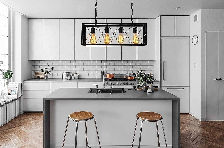 60W Diborui Industrial Kitchen Island Lighting with 4 E26 Sockets Kitchen and Bar Farmhouse Hanging Ceiling Light Fixture Metal Retro Chandeliers for Restaurant Rectangular Vintage Pendant Light