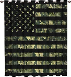 "Blackout Window Curtains Camouflage American Flag Window Treatment Darkening Thermal Insulated Curtains for Living Room Bedroom Window Drapes 52"" x 84"""