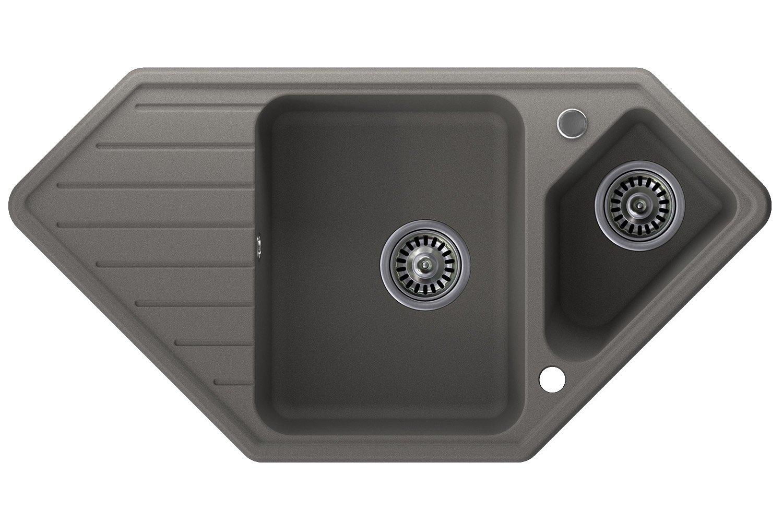 Granitspüle grau, 1,5-Becken, Drehexcenter + Siphon, Spülbecken, Küchenspüle, Schrankbreite ab 80 cm