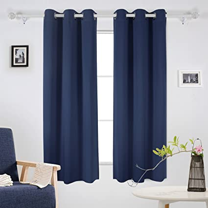 Deconovo Room Darkening Grommet Curtain Panel Thermal Insulated Blackout  Curtains For Living Room 42x63 Inch Navy