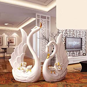 DSZXHN Statues for Home Decor,Creative Modern Ceramic White Couple Swan Animal Sculpture Crafted Figurines,Home Desktop Shelf Crafts Art Décor Statuettes for Indoor Living Room Or Office
