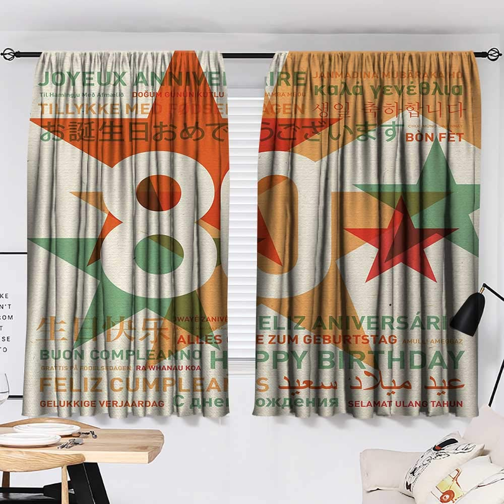 Jinguizi 80th Birthday Room/Bedroom, 80 Years Old Party with Universal Happy Birthday Best Wish Decorative Darkening Curtains Green and Pale Vermilion W55 x L39 by Jinguizi (Image #2)